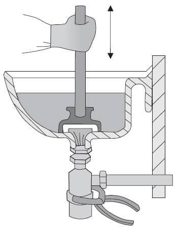 Схема чистки раковины вантузом