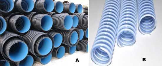 Гофра а)для внешней канализационной системы; b) пластиковая прозрачная труба внутренней канализации