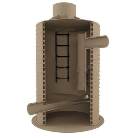Разрез, позволяющий увидеть устройство колодца перепадного типа