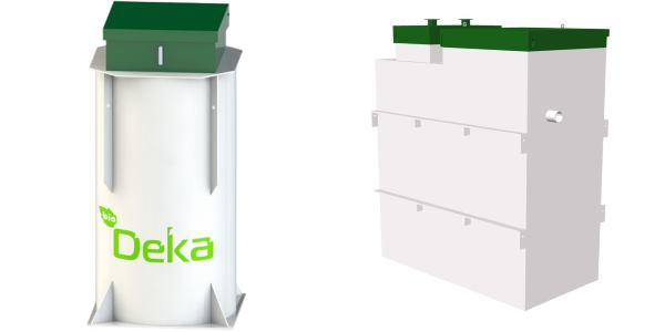 Фото очистных станций для локальной канализации «Топас» (справа) и «Deka» (Дека)