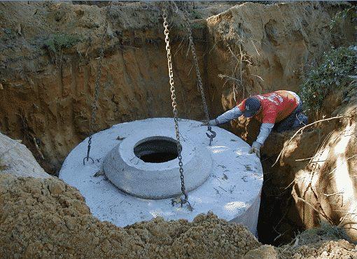 Процесс установки бетонных колец