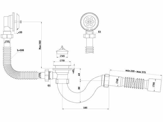 Схема гофрированного сифона