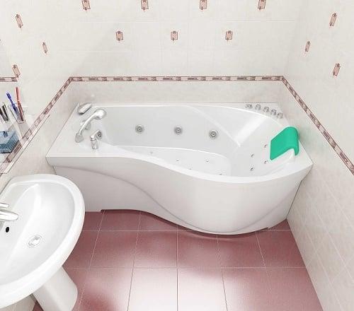 Стальная асимметричная ванна