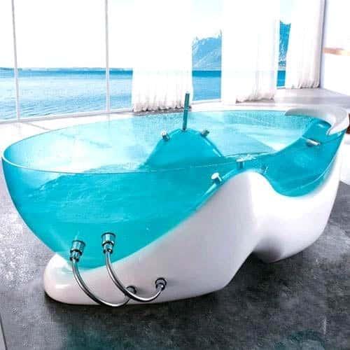 Стеклянная гидромассажная ванна