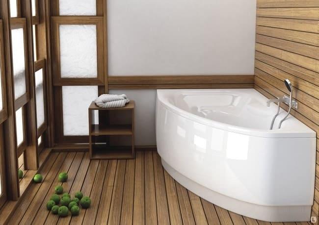 Треугольная акриловая ванна из литого полимера