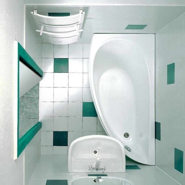 Вариант планировки маленькой ванной комнаты