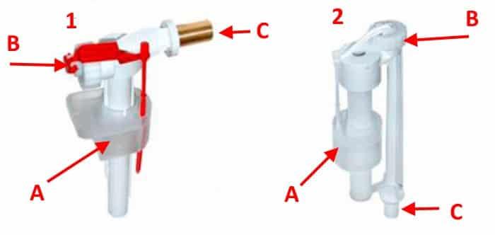 Запорная арматура с боковой (1) и нижней (2) подводкой