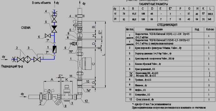 Типовая вертикальная схема установки водосчетчика