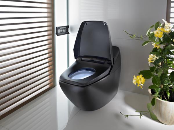 Напольный электронный унитаз с функцией биде в черном цвете и настенной панелью управления